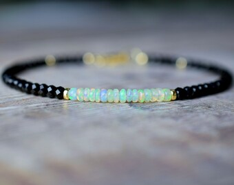Black Spinel & White Opal Bracelet