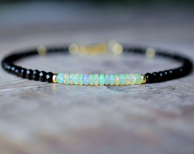 Featured listing image: Black Spinel & White Opal Bracelet