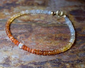 Fire Opal & Ethiopian Opal 14k Gold Fill Gemstone Bracelet