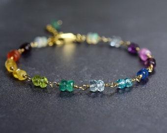 Wire Wrapped Multi Gemstone Bracelet