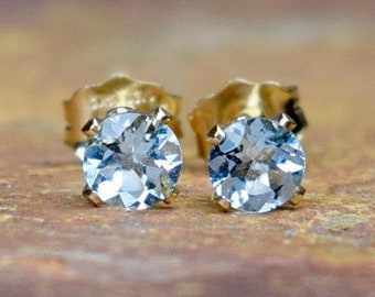 Blue Aquamarine Stud Earrings
