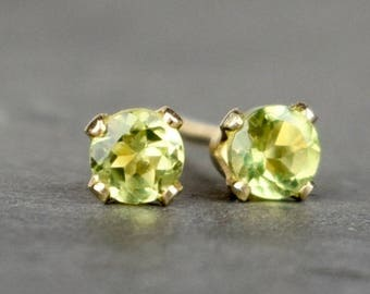 Tiny Peridot Stud Earrings