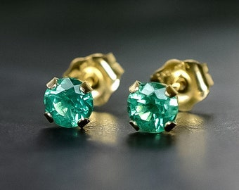 Solid Gold Zambian Emerald Stud Earrings