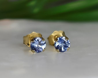 Tanzanite Stud Earrings in Solid Gold
