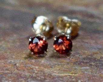 Mozambique Garnet (4mm) & 14k Gold Filled Stud Earrings
