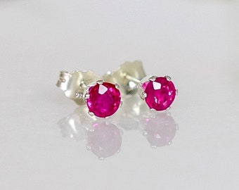 4mm Burmese Ruby Stud Earrings in Sterling Silver