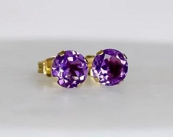 Amethyst Earrings in 14k Gold (6mm)