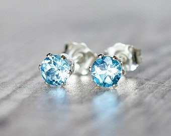 Swiss Blue Topaz Silver Stud Earrings