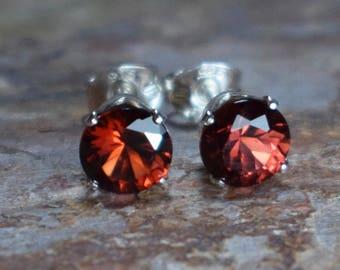 Mozambique Garnet (4mm) & Sterling Silver Stud Earrings