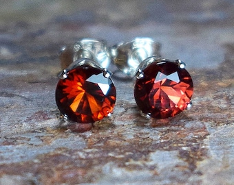 Mozambique Garnet (4mm) & Sterling Silver Stud Earrings