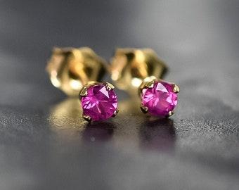 Ruby Earrings, Dainty 3mm Natural Gemstone Earrings, Real Ruby Studs, Genuine Ruby Jewelry, July Birthday Anniversary Gift Wife
