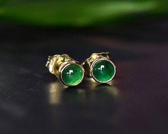 14k Gold Natural Emerald Earrings