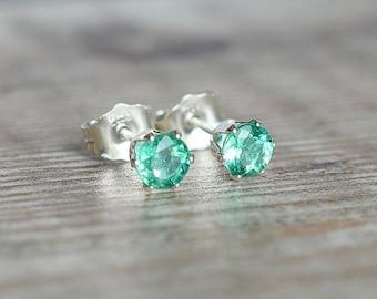 Zambian Emerald Stud Earrings in Silver