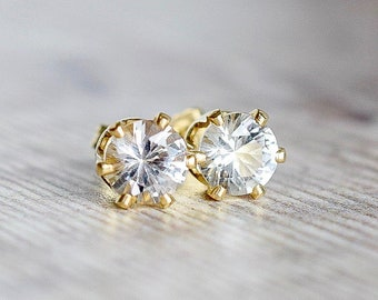 6mm White Topaz Stud Earrings in Gold Fill