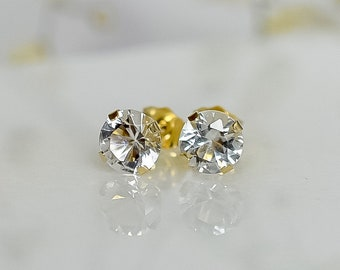 Solid Gold 6mm White Topaz Stud Earrings