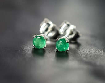 Tiny Emerald Stud Earrings in Sterling Silver