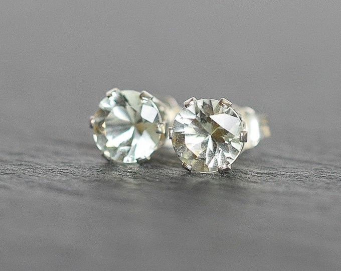 Featured listing image: 6mm Green Amethyst Stud Earrings in Sterling Silver