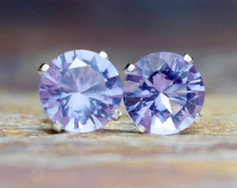 Pink Amethyst (6mm) & Sterling Silver Stud Earrings