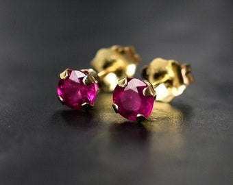 4mm Burmese Ruby Stud Earrings in Sterling Silver
