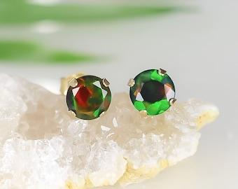 Solid Gold Black Opal Earrings