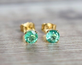 Natural Emerald Stud Earrings in Gold Fill