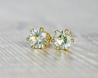 Green Amethyst Stud Earrings