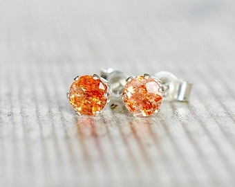 4mm Sunstone Earrings in Sterling Silver