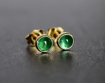 14k Gold Natural Zambian Emerald Earrings