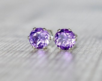 Purple Amethyst Silver Stud Earrings 6mm, February Birthstone Jewelry, African Amethyst Gemstone Earrings, Birthday Gift Girlfriend