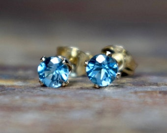 Swiss Blue Topaz & 14k Gold Filled Stud Earrings