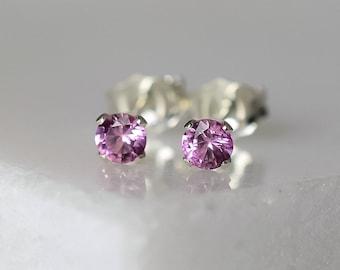 Pink Sapphire Stud Earrings, September Birthstone Gift, 3mm Dainty Gemstone Earrings in Sterling Silver, 45th Anniversary Gift Wife