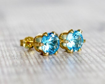 6mm Blue Topaz Stud Earrings in Gold Fill