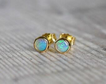 18k Gold Australian Opal Stud Earrings