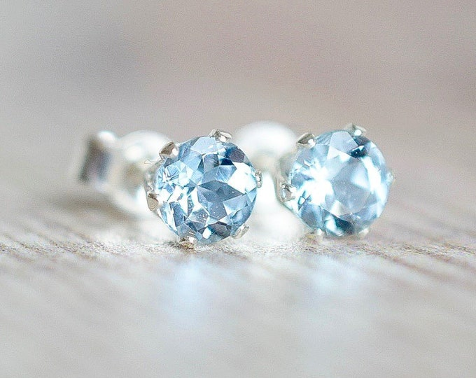 Featured listing image: Blue Aquamarine & Sterling Silver Earrings