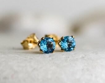 Swiss Blue Topaz Earrings in 14k Gold