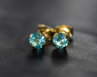 Solid Gold Apatite Earrings, 14k Yellow Gold Apatite Jewelry, 4mm Gemstone Stud Earrings, Birthday Gift for Her, Anniversary Gift Wife