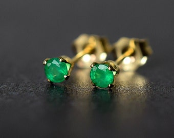 3mm Brazilian Emerald Stud Earrings in Gold Fill