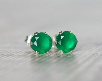 6mm Green Onyx Earrings