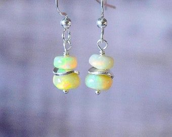 Silver Opal Drop Earrings, Natural Opal Earrings, Gemstone Earrings, Opal Jewelry, October Birthstone, Boho Earrings, Wife Gift for Her