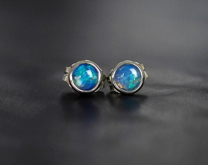 Featured listing image: Australian Opal Stud Earrings in Sterling Silver