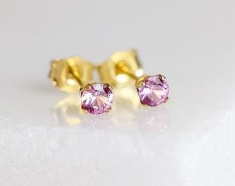 Pink Sapphire Earrings in Gold Fill