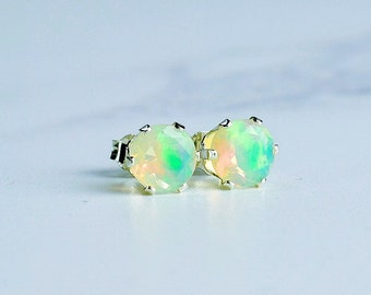 6mm Opal Stud Earrings in Sterling Silver
