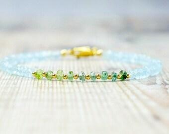 Sky Blue Topaz & Green Tourmaline Bracelet