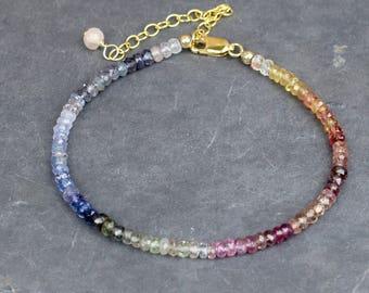 Multicolour Sapphire & 14k Gold Fill Bracelet