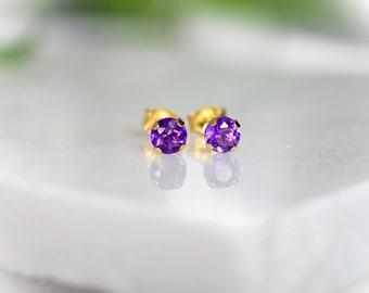 Solid Gold Amethyst Stud Earrings (4mm)