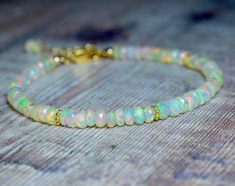Ethiopian Opal & 14k Gold Filled Gemstone Bracelet