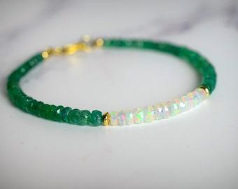 Zambian Emerald & Ethiopian Fire Opal Bracelet
