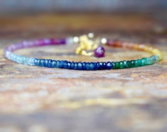 Rainbow Sapphire, Emerald & Aquamarine Bracelet