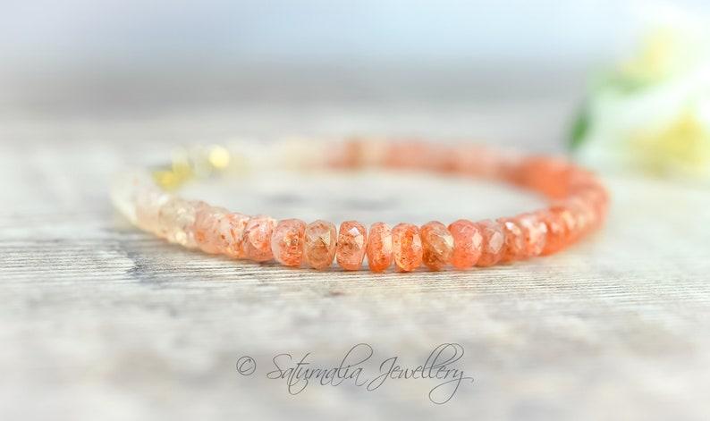 Sunstone Bracelet in Gold Fill Shaded Sunstone Jewellery Unisex Bracelet Good Luck Crystal