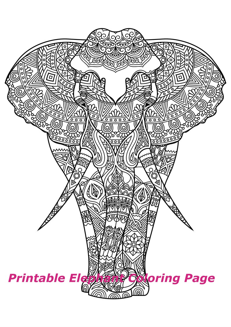 Printable Elephant Mandala Coloring Page Adult Or Child Color Etsy